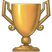 The trophy that appears above your head when getting an achievement