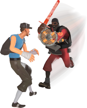 A Demoman using the Chargin' Targe to charge towards a Scout.