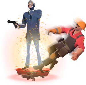 A Spy executing a Telefrag on an Engineer.