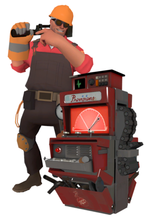 Engineer standing by his Dispenser